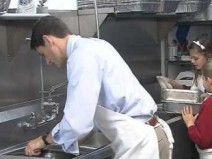 Paul Ryan washing clean pots at empty soup kitchen