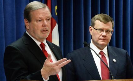 N.C. Senate Majority Leader, Phil Burger (R-Stupid) and is BFF, House Speaker Tim Moore (R-Idiot) (Chuck Liddy - News & Observer File Photo)